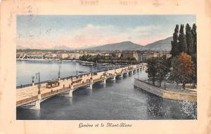 Switzerland Old Vintage Antique Post Card Geneve et le Mont Blanc 1913 Missin...
