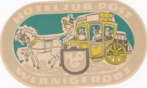 Germany Wernigerode Hotel Zur Post Vintage Luggage Label sk2840