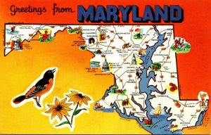 Maryland Greetings With Map State Bird and Flower