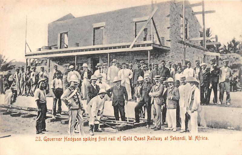 Ghana Gold Coast Governor Hodgson spiking first rail Sekondi postcard