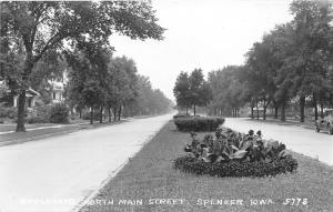 Spencer Iowa~Boulevard North Main Street~Parked Car~Flower Garden~c1930s RPPC