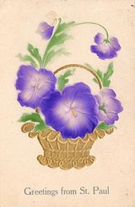 St. Paul Minnesota~Purple Airbrushed Pansies~Gold Basket~Greenery~Embossed~1909