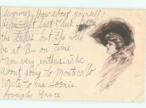 Divided-Back PRETTY WOMAN Risque Interest Postcard AA7839