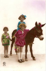 Little children with a donkey Old vintage French postcard