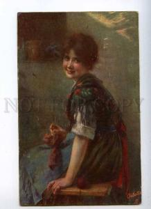 233386 Charming BELLE Woman KNITTING by WOBRING vintage TUCK