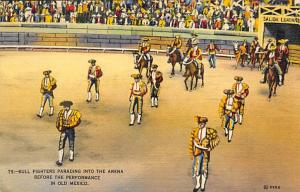 Bull Fighters Parading into Arena Tarjeta Postal Bullfighting Postcard Bull F...
