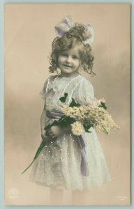 Color RPPC Adorable Girl Holds Bouquet~Chiffon Dress~Embossed Dots, Stripes 1910