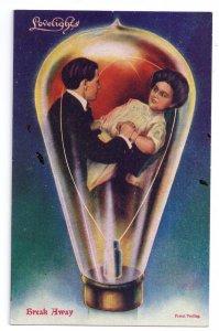 Lovelights Romance Couple Break Away Lightbulb Vntg 1900s Victorian Postcard
