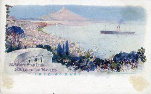 Circa-1904 Naples Italy PC: White Star Line RMS Celtic In Bay