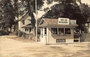 Curtis MI Roadside 42nd AND BROADWAY Food Stand Real Photo Postcard
