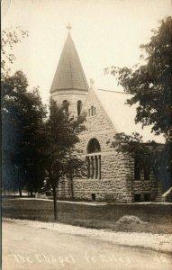 Ft Riley Kansas~Stone Chapel on Military Base~WWI Training Site~c1914 RPPC