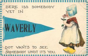 Somebody Yet In Waverly New York~Vants to See Somebody~1913 Pennant Postcard
