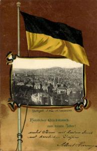 germany, STUTTGART, Panorama, Flag Postcard (1902) Stamp