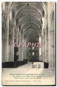 Old Postcard Saint Martin De Boscherville Inner View of The Church