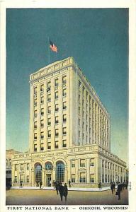 First National Bank, Oshkosh, WI, Wisconsin, White Border
