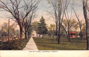 Lawrence Kansas~City Park Sidewalk to Gazebo Band Stand~1909 Postcard