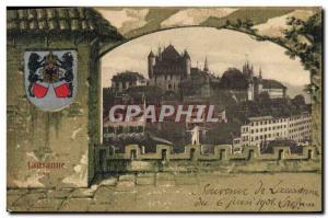 Old Postcard Lausanne Switzerland Cite Bear