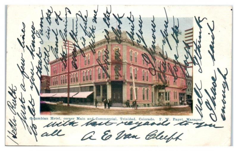 1905 Columbia Hotel, Corner of Main and Commercial, Trinidad, CO Postcard