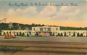 Seattle Washington~Sun Ray Motel~1947 Linen Roadside~Postcard