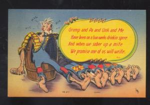 DRUNK HOBO DRINKING BARREL VINTAGE COMIC POSTCARD MWM CO.