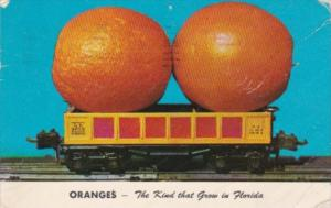 Humour Exageration Giant Oranges On Train Car The Kind That Grow In Florida 1957