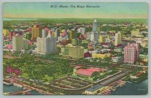 Miami Florida~Air View of City & Bay~Vintage Postcard