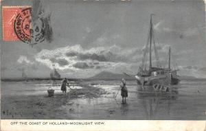 BR40097 off the coast of holland moonlight ship netherland   Netherlands
