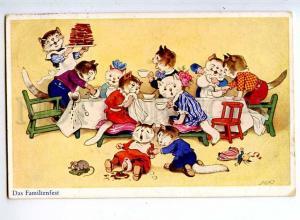240778 Dressed CAT Tea Party by F.B. BAUMGARTEN Vintage PC