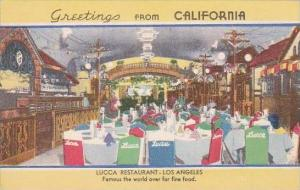 California Los Angeles Greeting From California Lucca Restaurant