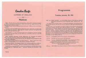 CANADIAN PACIFIC Empress of England, Bi-Fold, Notices & Programme, 1/30/1962