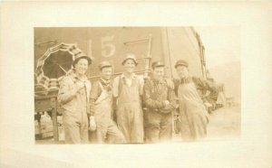 C-1910 Railroad Occupation workers Umbrella RPPC Photo Postcard 6020