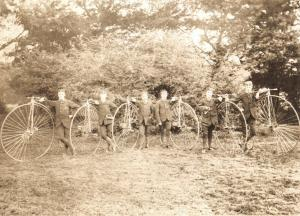 Vintage Repro Postcard c1890 Woodford Cycle Team with their Ordinaries 29U
