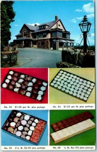 Shrewsbury MA Advertising Postcard HEBERT CANDY MANSION Route 20 Roadside -1955