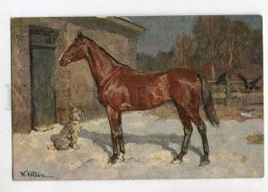 3060614 HORSE & DOG in Snow by VELTEN vintage PC
