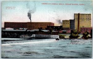 Cedar Rapids, Iowa Postcard AMERICAN CEREAL MILLS River View c1910s Unused