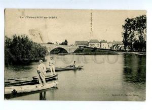 131567 FRANCE L'Yonne a PONT-sur-YONNE Vintage RPPC to RUSSIA