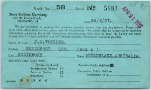 Chicago, Illinois Postcard SHURE BROTHERS COMPANY Order / Query Card 1937 Cancel