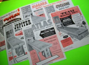 Arcade Game FLYERS Lot Of 6 United Shuffle Bowling Alley Vintage Ephemera 1958