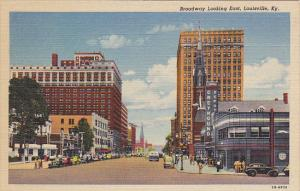 Kentucky Louisville Broadway Looking East Greyhound Bus Depot Curteich