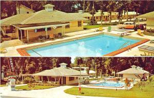 Ocala FL Club DeMent Motel Multi-View Swimming Pool Old Cars Postcard