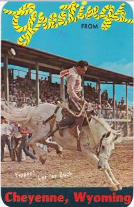 Rodeo Bucking Horse - Greetings from Cheyenne WY, Wyoming - pm 1977