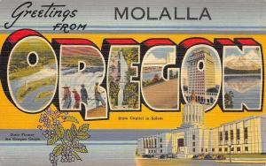 Molalla Oregon Large Letter Linen~Bear Creek~Capitol~1946
