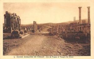 Algeria Ruines Romaines de Timgad, Arc de Trajan et Temple du Genie