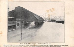 Pittsburgh Pennsylvania~Train Shed Lake Erie RR Station~1907 Flood Postcard