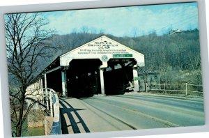 Philippi WV, Double Covered Bridge Civil War Site, Chrome West Virginia Postcard