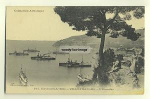 su323 - Warships anchored off Villefranche , France - postcard