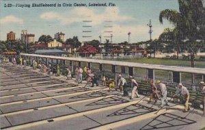 Florida Lakeland Playing Shuffleboard In Civic Center 1954