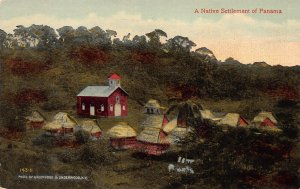 Native Settlement on Former Fort Chagres, Panama, Early Postcard, Unused