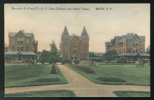 Bath New York Barracks A B C NY State Soldiers Sailors Home Albertype Postcard