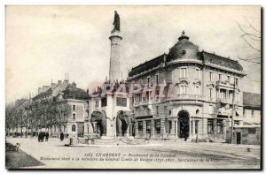 Old Postcard Chambery Boulevard Count column Boigne Elephants